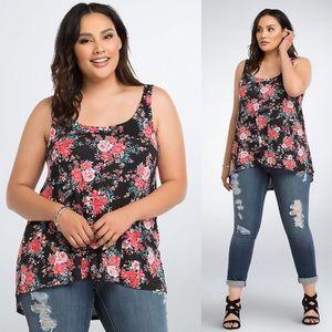 Torrid Floral Print Twist Back Tank Top Womens 1X